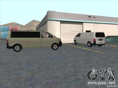 VW Transporter T5 2.5 TDI long para GTA San Andreas vista hacia atrás