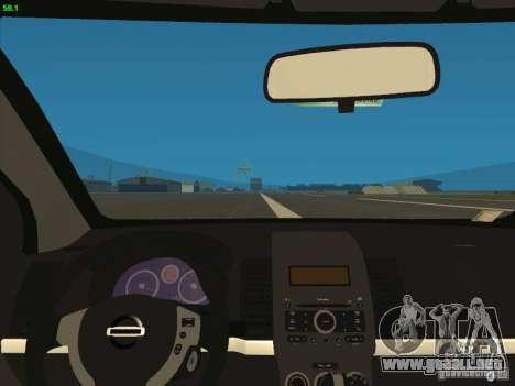 Nissan Sentra 2012 para GTA San Andreas vista hacia atrás