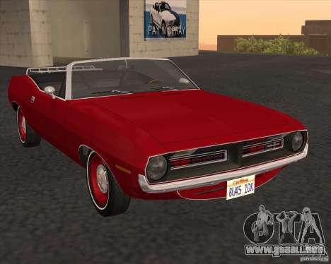 Plymouth Cuda Ragtop 1970 para la visión correcta GTA San Andreas