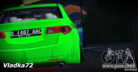 Honda Accord Angry Birds para visión interna GTA San Andreas