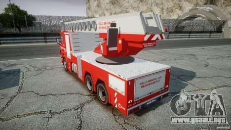 Scania Fire Ladder v1.1 Emerglights blue-red ELS para GTA 4 vista hacia atrás
