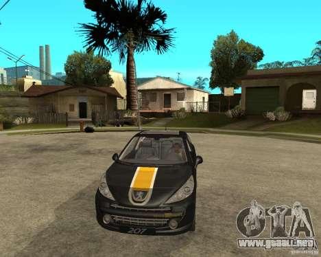 PEUGEOT 207 Griffe LANCARSPORT para GTA San Andreas vista hacia atrás