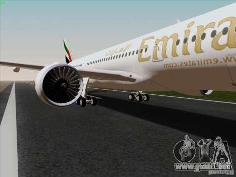 Airbus A350-900 Emirates para GTA San Andreas vista hacia atrás