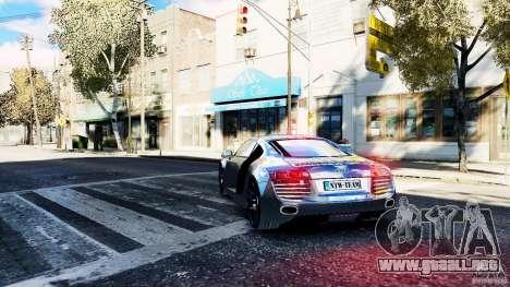 Audi R8 Spider 2011 para GTA 4 Vista posterior izquierda