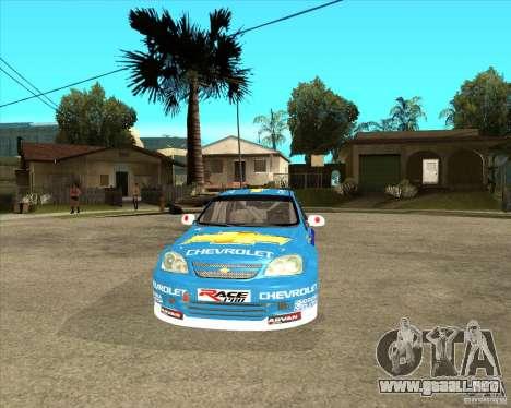 Chevrolet Lacetti WTCC para GTA San Andreas vista hacia atrás