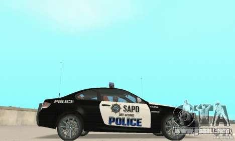 BMW M3 E92 Police para GTA San Andreas vista posterior izquierda