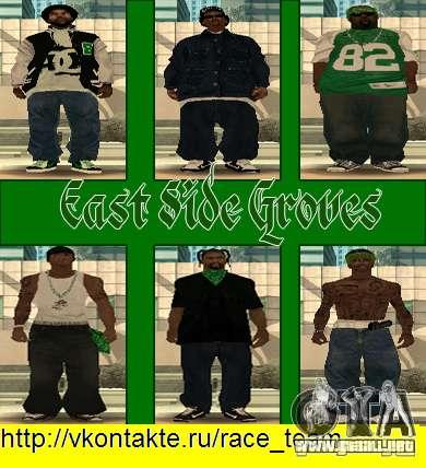 Reemplace todas las pieles Grove Street Families para GTA San Andreas octavo de pantalla