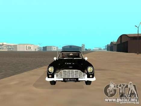 Aston Martin DB5 para GTA San Andreas vista hacia atrás