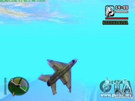 MIG 21 nuevo para GTA San Andreas vista hacia atrás