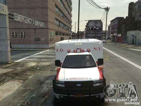 Ford F-350 Ambulance FDNY para GTA 4 vista interior
