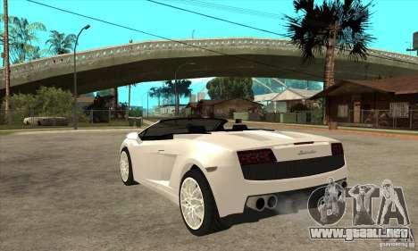Lamborghini Gallardo Spyder v2 para GTA San Andreas vista posterior izquierda