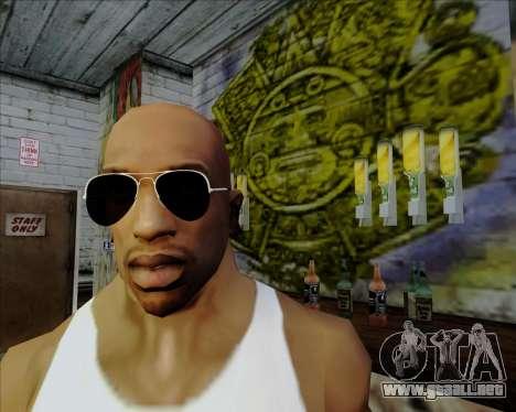 Gafas de sol aviador negro para GTA San Andreas sucesivamente de pantalla