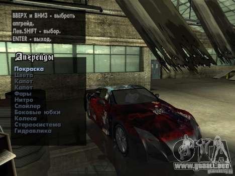 Lexus LFA Custom para la vista superior GTA San Andreas