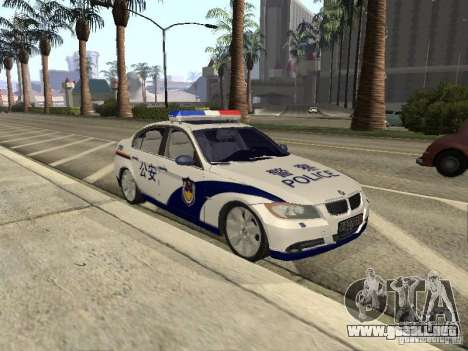 BMW 3 Series China Police para GTA San Andreas vista posterior izquierda