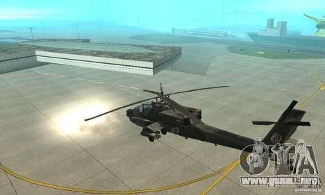 An-64 Apache para GTA San Andreas vista hacia atrás