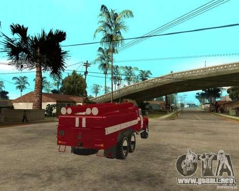 Fuego ZIL 133GÂ AC para GTA San Andreas vista posterior izquierda