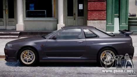 Nissan Skyline GT-R 34 V-Spec para GTA 4 Vista posterior izquierda