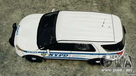 Ford Explorer NYPD ESU 2013 [ELS] para GTA 4 visión correcta