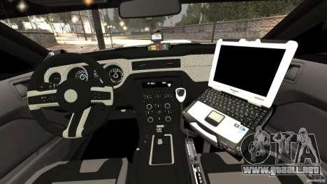 Ford Mustang 2013 Police Edition [ELS] para GTA 4 vista hacia atrás