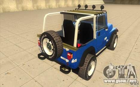 Jeep Wrangler 4.0 Fury 1986 para GTA San Andreas vista posterior izquierda