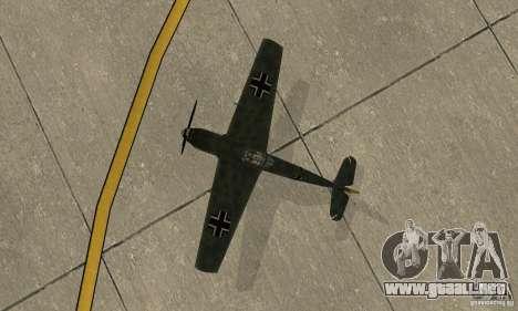 Bf-109 para GTA San Andreas vista hacia atrás