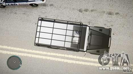 Land Rover Defender para GTA 4 vista hacia atrás