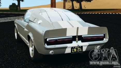 Shelby GT 500 Eleanor v2.0 para GTA 4 Vista posterior izquierda