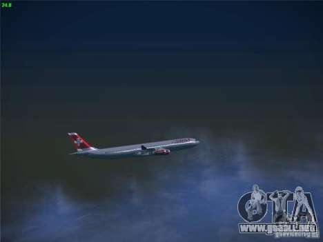 Airbus A340-300 Swiss International Airlines para vista lateral GTA San Andreas