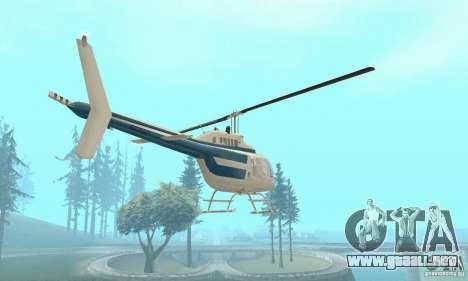 Bell 206B JetRanger II para GTA San Andreas vista hacia atrás