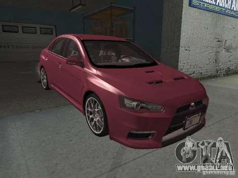 Mitsubishi Evolution X Stock-Tunable para vista inferior GTA San Andreas