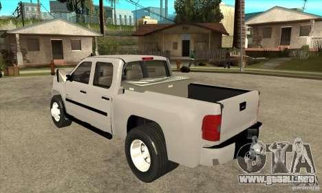 GMC 3500 HD Sierra Duramax Diesel 2010 para GTA San Andreas vista posterior izquierda