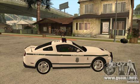 Shelby GT500 2010 Police para GTA San Andreas vista hacia atrás