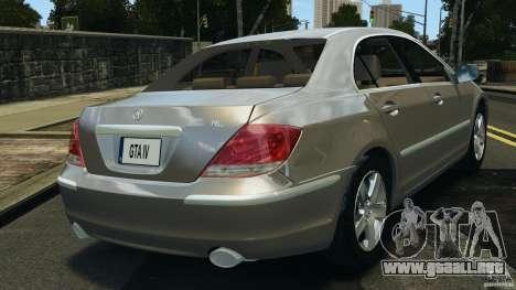Honda Acura RL para GTA 4 Vista posterior izquierda