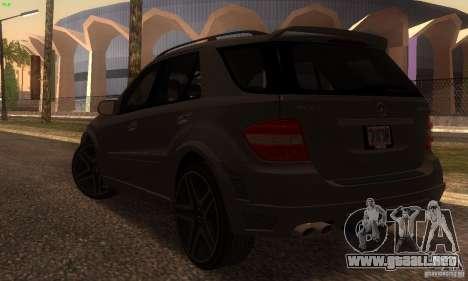 Mercedes-Benz ML63 AMG Brabus para GTA San Andreas vista posterior izquierda