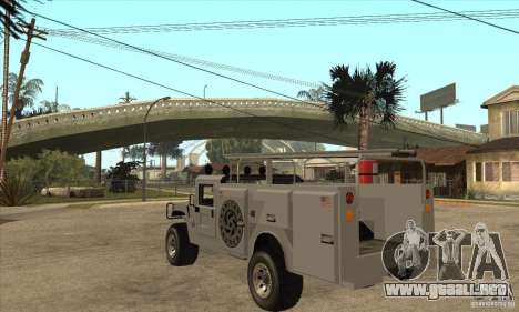 Hummer H1 Utility Truck para GTA San Andreas vista posterior izquierda