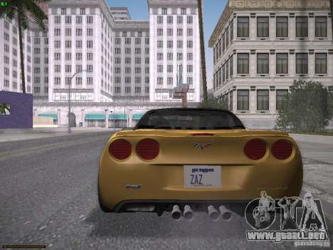 Chevrolet Corvette ZR1 para GTA San Andreas vista posterior izquierda