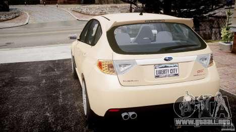 Subaru Impreza WRX STi 2009 para GTA 4 Vista posterior izquierda