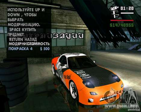Mazda RX-7 WeaponWar para la visión correcta GTA San Andreas