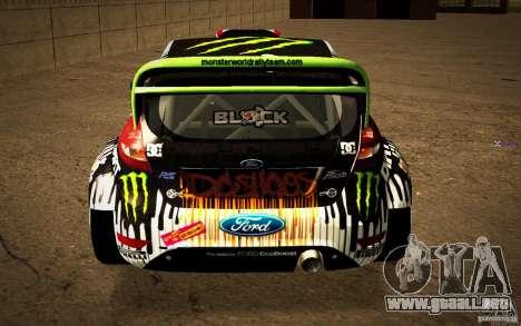 Ford Fiesta Gymkhana Four para GTA San Andreas vista hacia atrás