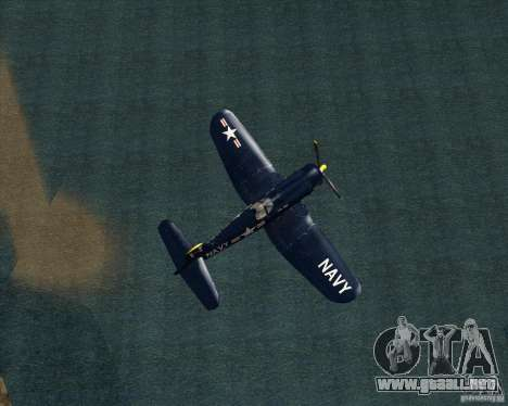 Aereo Corsair F4U1D para GTA San Andreas vista posterior izquierda