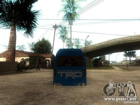 Toyota Commuter VIP Van para GTA San Andreas vista posterior izquierda