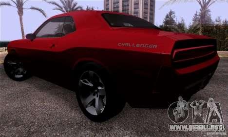 Dodge Challenger SRT8 para GTA San Andreas vista posterior izquierda