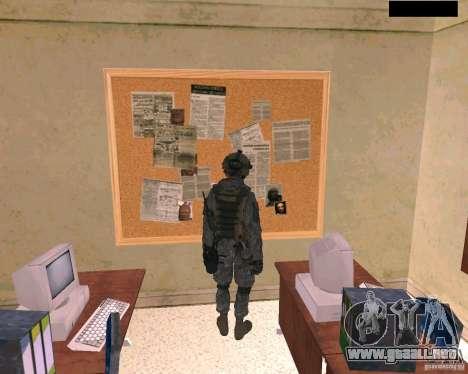 Piel del soldado de Cod MW 2 para GTA San Andreas sucesivamente de pantalla
