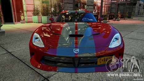 Dodge Viper GTS 2013 para GTA 4 vista hacia atrás