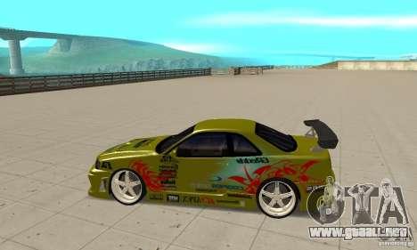 Nissan Skyline R34 GTR para GTA San Andreas left
