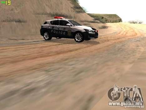 Lexus CT200H Japanese Police para GTA San Andreas vista hacia atrás