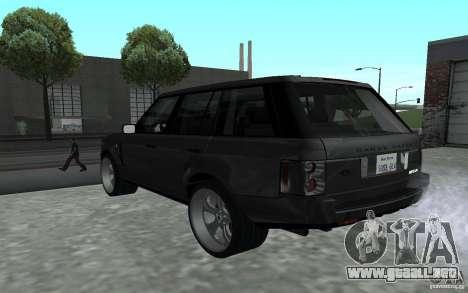 Land Rover Supercharged para GTA San Andreas vista posterior izquierda
