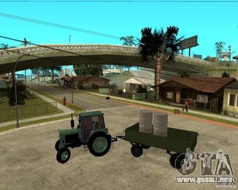 Tractor Belarus 80.1 y remolque para visión interna GTA San Andreas
