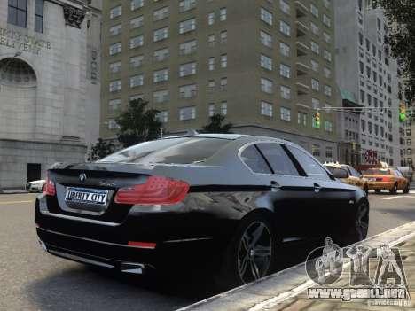 BMW 550i F10 para GTA 4 vista hacia atrás