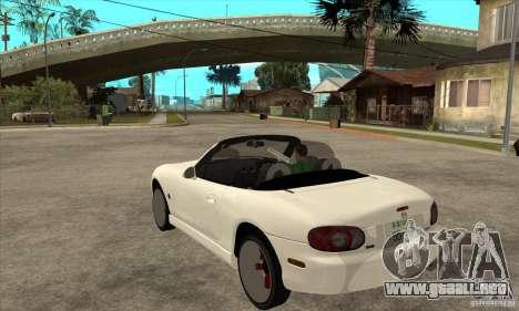 Mazda MX-5 JDM Convertible para GTA San Andreas vista posterior izquierda